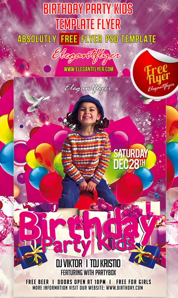 Birthday Party Kids Club And Party Free Flyer Psd Template