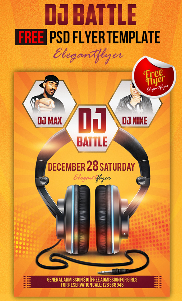 Dj Battle Club And Party Free Flyer Psd Template