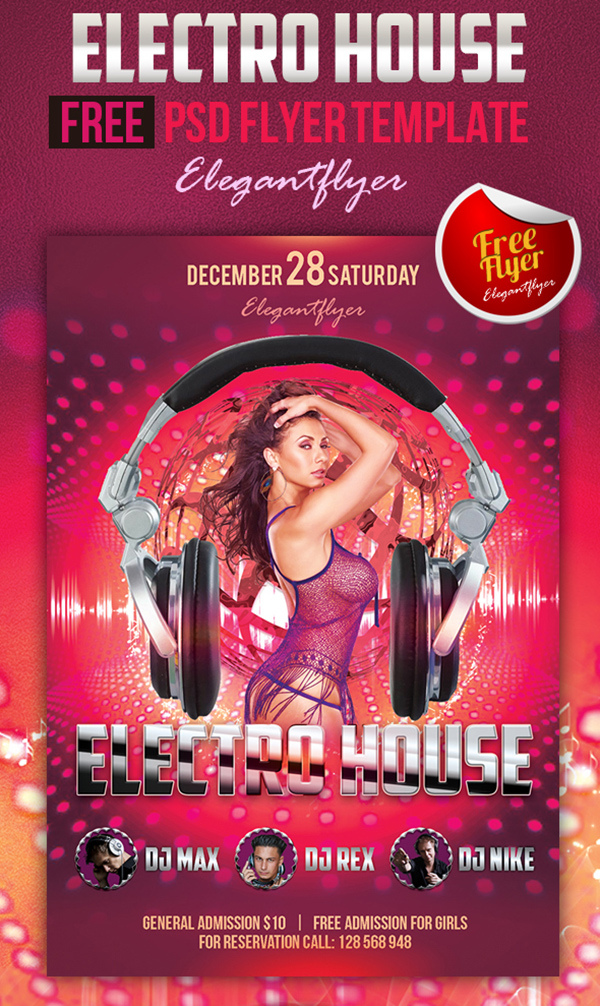 Electro House Free Club And Party Flyer Psd Template Elegant
