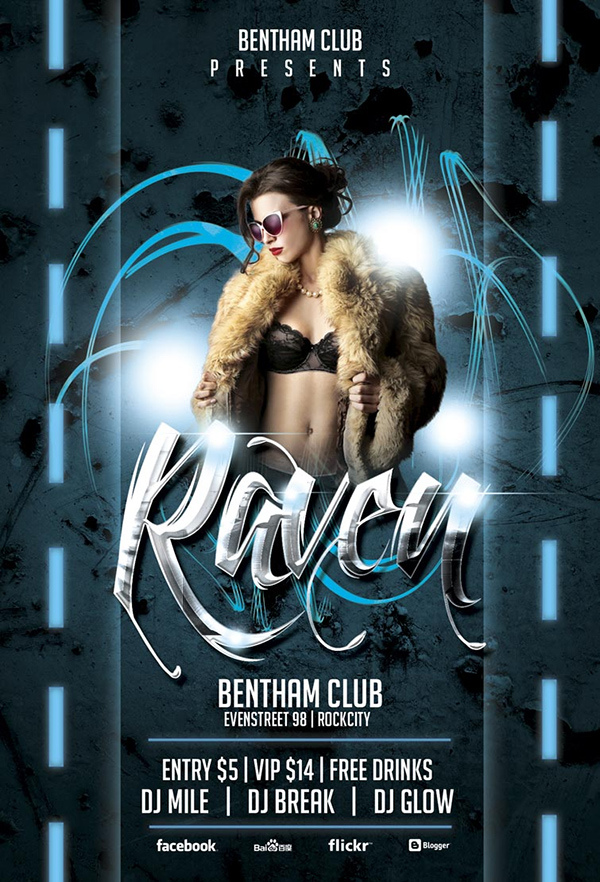 Free Raven Club Flyer Template Awesomeflyer