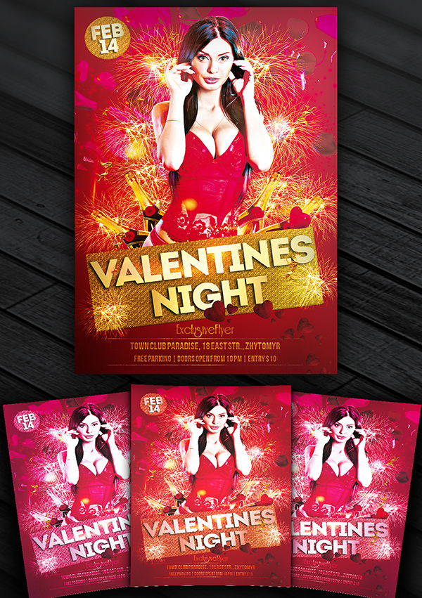 Valentines Night Free Club And Party Flyer Template Exclusive