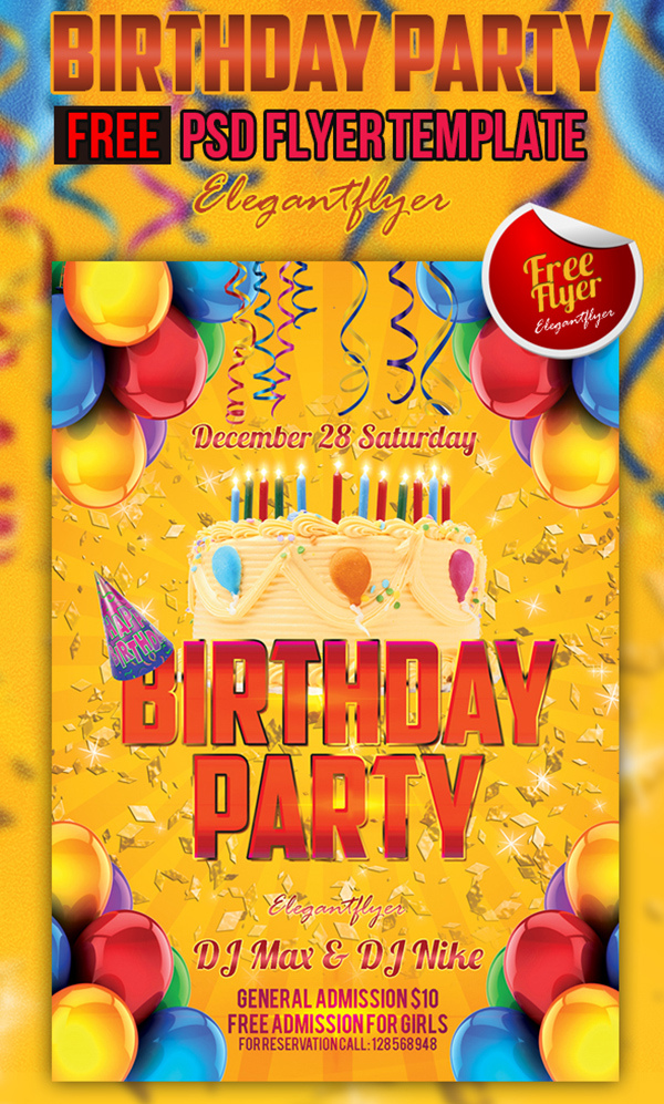 Birthday Party Free Club And Party Flyer Psd Template Elegantflyer