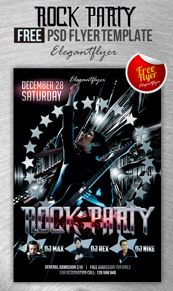 Rock Party Club And Party Free Flyer Psd Template Elegantflyer
