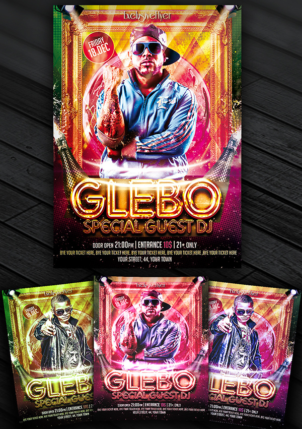 Special Guest Dj Glebo Premium Flyer Template