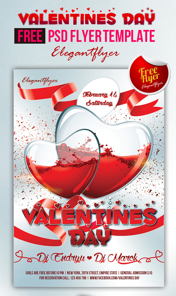Valentines Day Club And Party Free Flyer Psd Template Elegantflyer