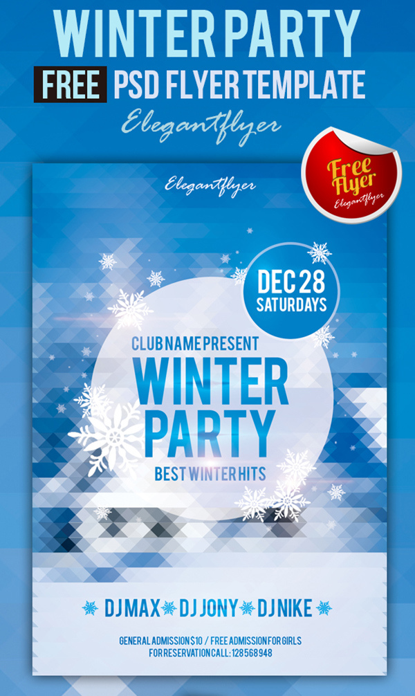 Winter Party Free Club And Party Flyer Psd Template Elegantflyer