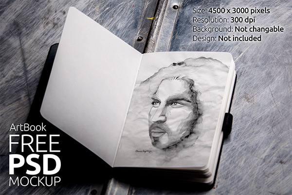 FREE Art Book Photorealistic Mockup 01