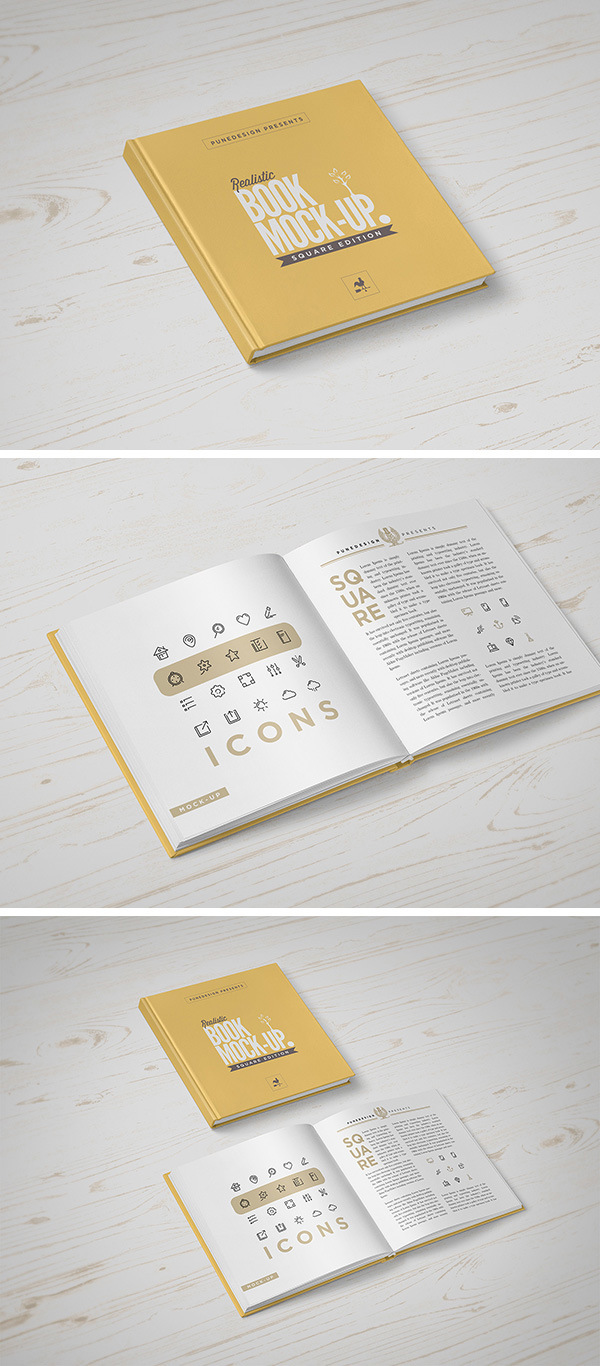 Square Book Mockup Graphicburger